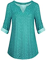 Kimmery Woman Henley Shirt 3/4 Cuffed Sleeve Notch V Neck Casual Office Tunic Blouse