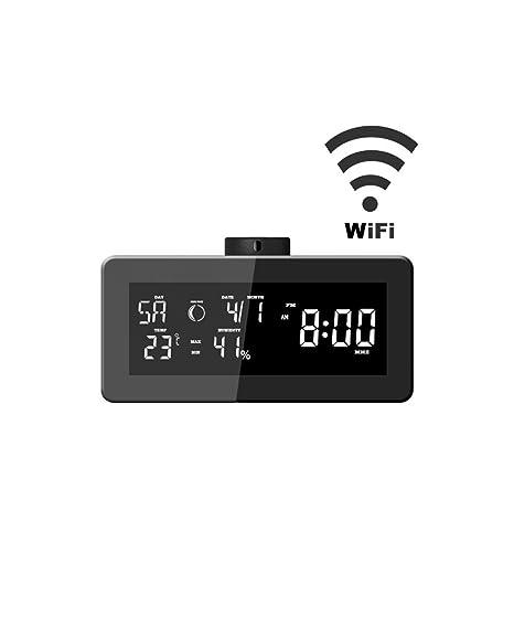 LKM Security lkm-rsbw01bk Barómetro Radio Reloj Despertador WiFi con cámara Oculta gestibile de Android