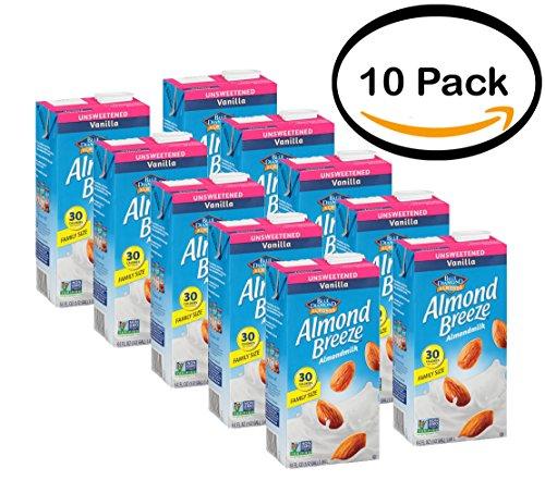 (PACK OF 10 - Blue Diamond Almond Breeze Unsweetened Vanilla Almondmilk 64 fl. oz. Aseptic Carton)