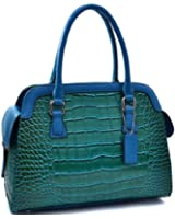 Dasein Tall Patent Croco Satchel with Side Pockets