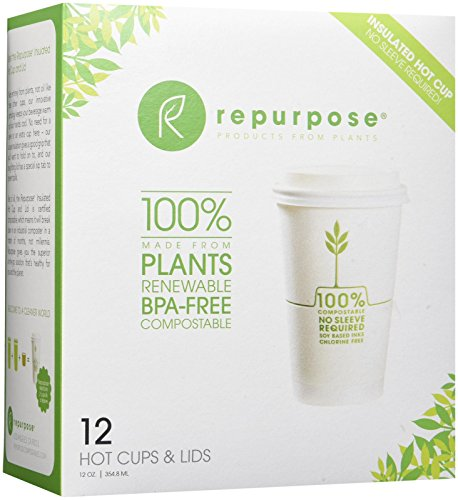 Repurpose 100% Plant Based Insulated Hot Cup and Lid Set12 , 12 oz. (12 count)