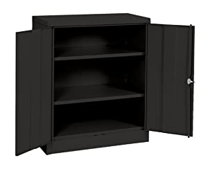 "Sandusky Lee RTA7001-09 Black Steel SnapIt Counter Height Cabinet, 2 Adjustable Shelves, 42""Height x 36"" Width x 18"" Depth"