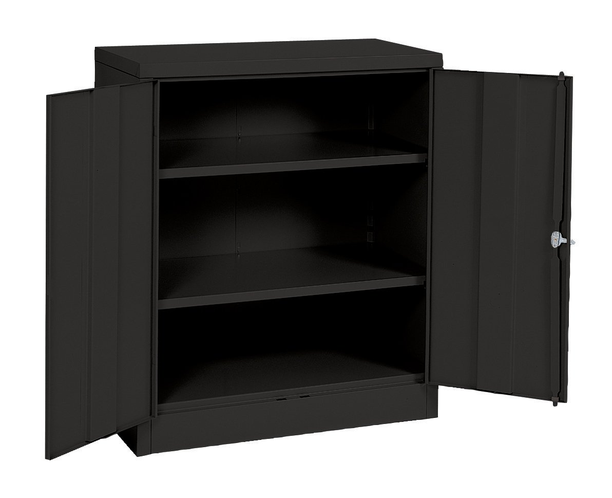 Sandusky Lee RTA7001-09 Black Steel SnapIt Counter Height Cabinet, 2 Adjustable Shelves, 42''Height x 36'' Width x 18'' Depth