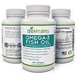 Omega-3 Fish Oil 180 Capsules for Max Joint Pain Relief and Flexibility * Highest EPA DHA * Strengthens Heart Health and Immune System * 6 Months Supply