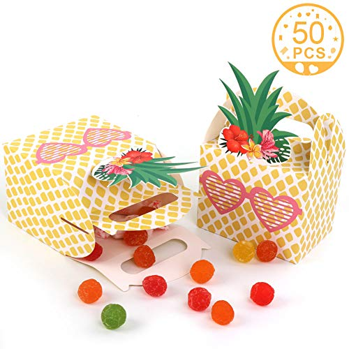 AerWo 50pcs Pineapple Favor Boxes, Pineapple Gift Box Goodie Candy Bags for Luau Hawaiian Tropical Party Decorations Summer Fruit Pineapple Party Supplies]()