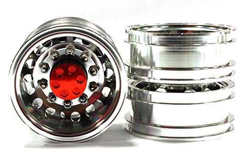 Integy RC Model Hop-ups C25022RED Billet Alloy T2 Type 12R Rear Dually Wheel for Tamiya 1//14 Scale Tractor Trucks