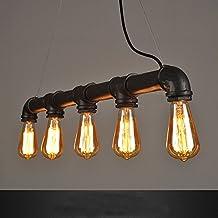 WINSOON INDUSTRIAL STEAMPUNK LAMP IRON PIPE CEILING ISLAND FIXTURE PENDANT LIGHT VINTAGE Retro (Black)