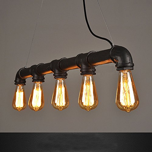 WINSOON INDUSTRIAL STEAMPUNK LAMP IRON PIPE CEILING ISLAND FIXTURE PENDANT LIGHT VINTAGE Retro (Black)