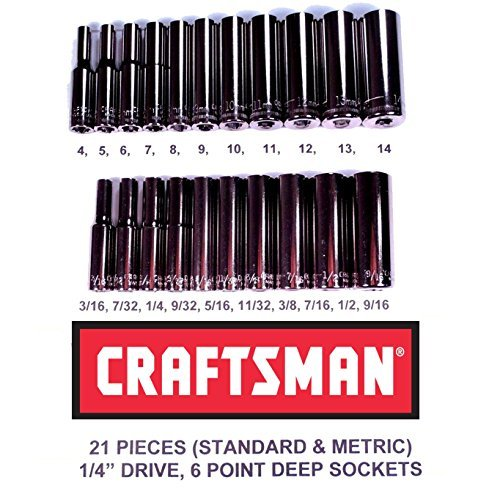 Craftsman Laser Etched Easy Read 21 Piece SAE/Metric 1/4'' Drive 6 Point Deep Well Socket Set by Craftsman
