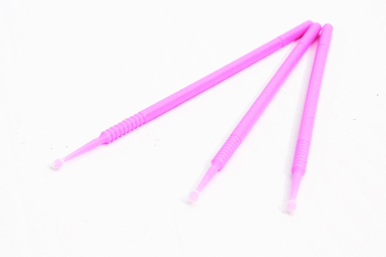 Natthom Mini cotone tampone bastoncini di pulizia Micro Brush monouso Accessori per la pulizia Mascara Extension 100pcs (Pink)