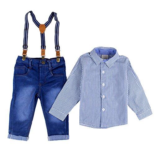 [Kinderanzug Jungen Festlich] Bekleidungsset 2 pcs Streifenhemd + Hose Babyanzug TaufanzugJunge Anzug Kleikind Hochzeit 110