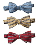 Horizontal Stripe Bow Tie (GOLD STRIPE, ONE SIZE)