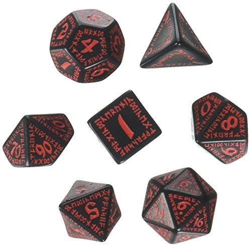 Runic Dice Set Black - Red (7) ()