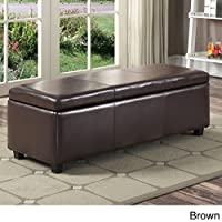 Upholstered Button Tufted, Fabric, Linen, or Leather Rectangular Storage Ottoman (Dark Brown)