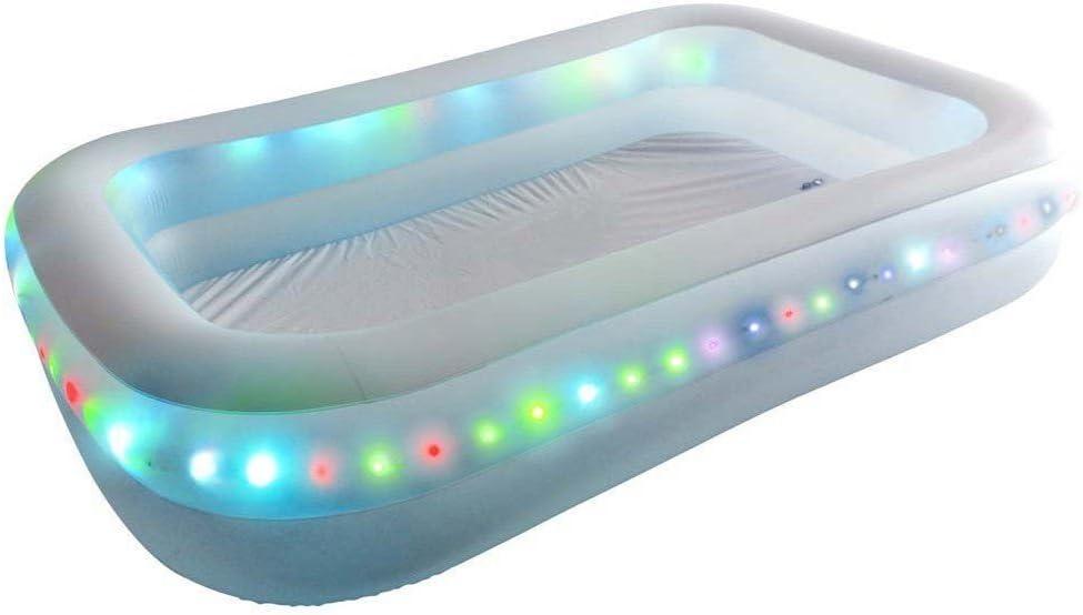 ASAB Piscina infantil hinchable grande | para niños y adultos | con LED | 200x150x50cm | para fiestas de jardín – piscina LED
