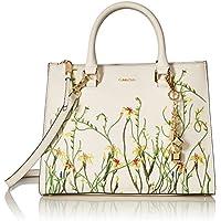 Calvin Klein Logan Saffiano Leather Floral Applique Satchel (White)