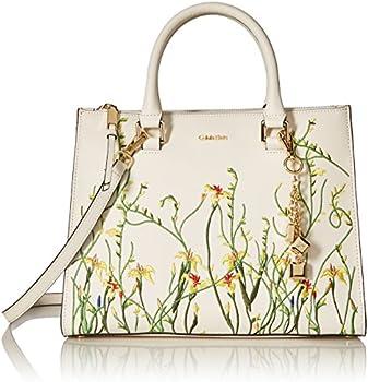 Calvin Klein Logan Saffiano Leather Floral Applique Satchel