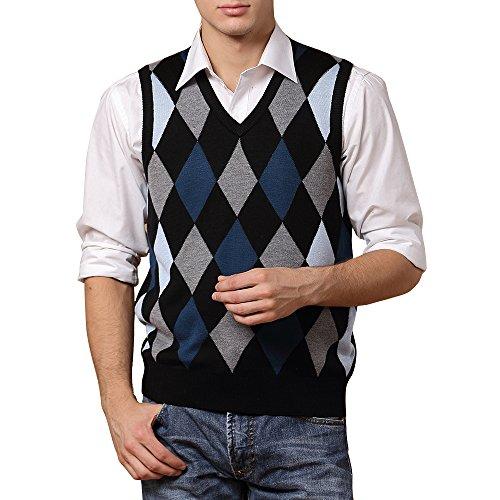 DAVID.ANN Men's Basic Slim Fit Knitted V-Neck Argyle Wool Blend Sweater (Blue Argyle Sweater Vest)