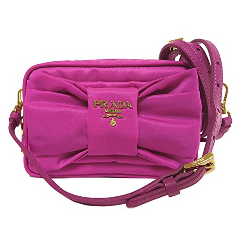 Nylon and Leather Bow Crossbody Bag Fuxia Pink ()