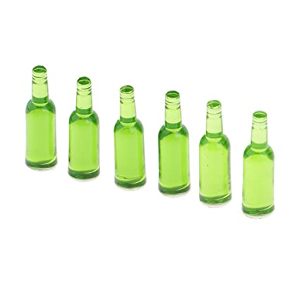 1:12 Dollhouse Miniature Furniture Green Beer Wine Bottles Drink Beverage 6Pcs //