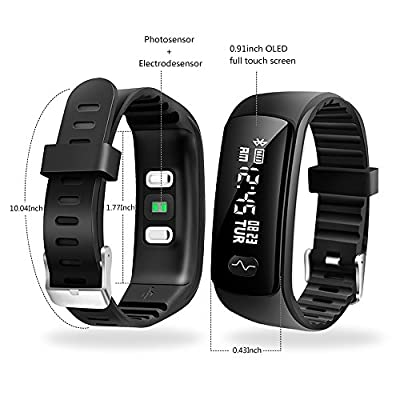 AFUNSO Fitness Tracker, Activity Tracker Pedometer with ECG PPC Blood Pressure Monitor & Heart Rate Monitor, IP66 Waterproof Bluetooth 4.0 Fitness Watch, Sleep Monitor Smart Band for Android & iOS
