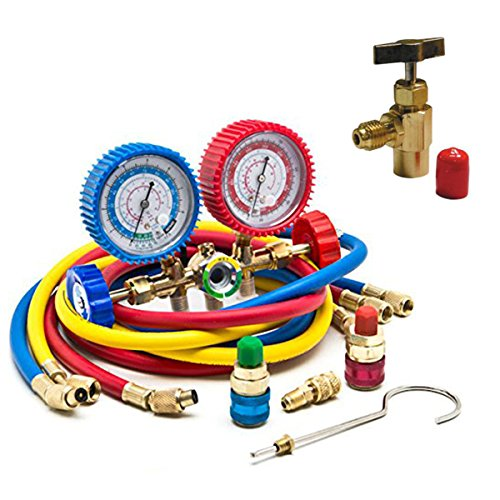 - Goetland Diagnostic Manifold Gauge Kit for AC Refrigerant R12 R22 R502 HVAC, with R134a Adapter & Can Tap, 5 ft