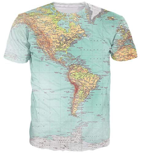 Goodstoworld Unisex 3D Funny T-Shirts World Map Novelty Funky Graphic Tee Tops Green Beach Party Rave Vacation Hip Hop Street Popular Pattern Print Designer Shirts for Women Men Apparel ()