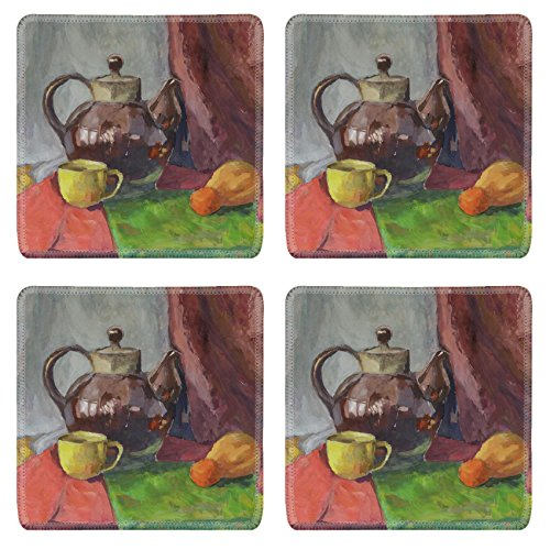Liili Square Coasters Non-Slip Natural Rubber Desk Pads IMAGE ID: 21955203 Still life with Teapot Painting Gouache on (Best Liili Teapots)