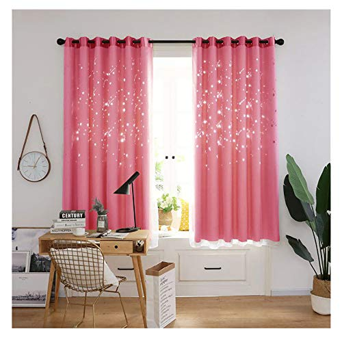 Promisen Meteor Shower Hollow Out Curtains,1PCS Modern Window Sheer Voile Drape Valance Curtains for Dining Room,Living Room,Bedroom (Pink) ()