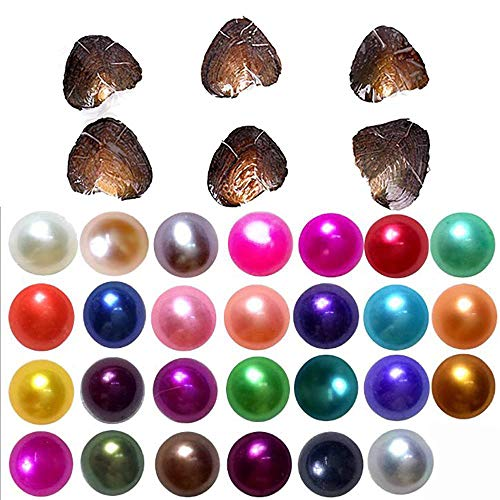 2018-Freshwater Cultured Love Wish Pearl Oyster with Round Pearl Inside 20 Colors (Random Color 20 PCS 7-8mm) ()