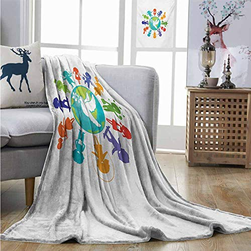 Homrkey Cozy Blanket Youth Cute Children Silhouettes Around The World with Pigeon Symbol of Peace Earth Planet Charisma Blanket W70 xL93 Multicolor (Earth Cozy Blanket Around)