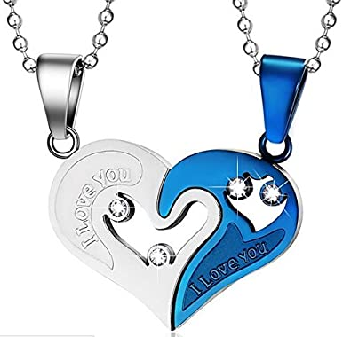 ca2840d1ed Image Unavailable. Image not available for. Color: Mowen Jewelry Stainless  Steel Mens Womens Couple Necklace Friendship Puzzle CZ Love Matching Heart  ...