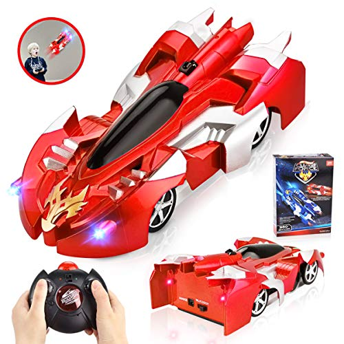 INLAIER Remote Control Car Gravity Defying RC Car Race Car Toys for Floor and Wall or Glass, Rechargeable Fast RC Car 360°Rotating Stunt Wall Climbing Car RC Cars for Kids and Adults (Red)