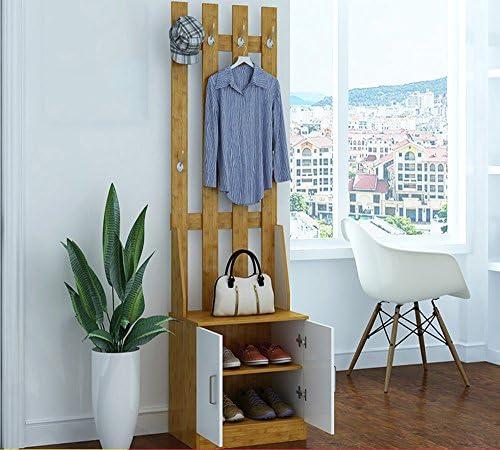 多機能木製玄関キャビネット、ロッカー、ダストフロア衣類、ハンガーシューキャビネットの組み合わせ ( 色 : Bamboo color )