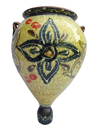 Cactus Canyon Ceramics Spanish Hand-Painted Orza Wall Flower Planter, Spanish Honey