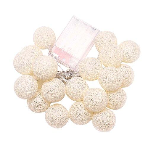 Handfly White Lantern Tone Handmade Cotton Balls Fairy String Lights for Home,DIY Party, Decor, Christmas, Halloween,Wedding(3M,20Globe)