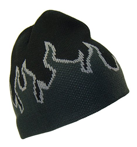 THS Flame Design 8 Inch Short Knit Beanie Ski Cap (One Size, Black/Grey)