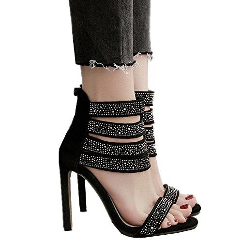 Womens Di Del Coniglio Sera Alla Sandalo Caviglia Partito Bello Delle Diamante Tacchi Nero Stile Sandali Donne Cinturino wTnxOIqPq