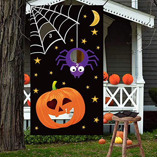 Halloween Bean Bag Toss Games - Pumpkin Spider Web,3 Bean Bags - for Kids Party -