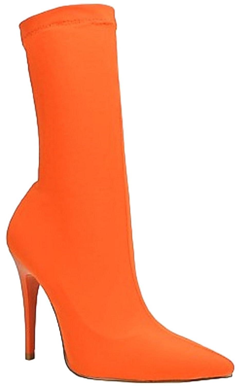 e81da84ea993b7 Shoe republic carreta ankle high pointed pointy toe elastic stretchy  stiletto heel nylon sock boot orange