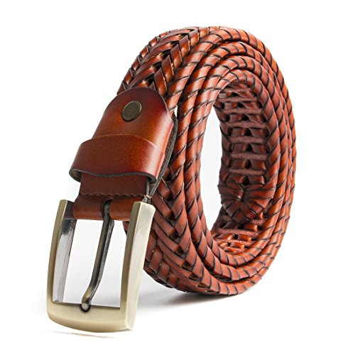 (ECHAIN Men Braided Woven Genuine Leather Belt)