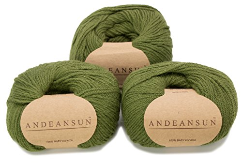 100% Baby Alpaca Yarn Skeins - Set of 3 - Various Colors - AndeanSun - Luxuriously Soft for Knitting, Crocheting - Great for Baby Garments, Scarves, Hats, and Craft Projects (Hunter Green)