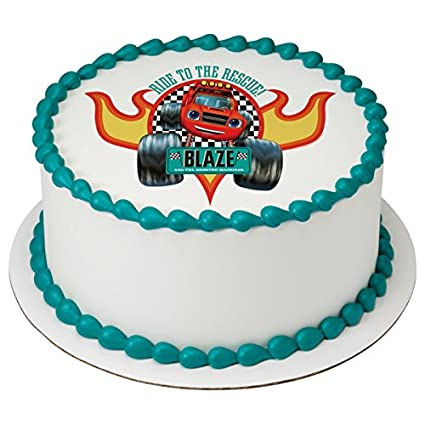 "Blaze Ride to the Rescue Edible Cake Topper or Cupcake Topper Decorations (8"" ..."