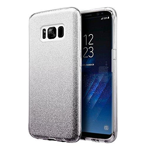 (Bemz Slim Glitter Sparkle TPU Gel Protective Case Compatible with Samsung Galaxy S8+ Plus - Silver/Black)