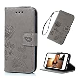 iphone 5 ca se - iPhone 5 Case, iPhone 5S, iPhone SE Case, Gray Rose Flower Magnetic Premium Embossed PU Leather Flip Wallet Case TPU Inner Wrist Strap Card Slots Protective Cover for iPhone 5 5S SE