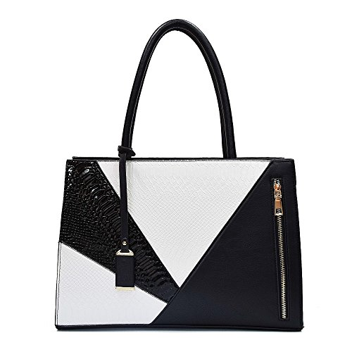 Patchwork Satchel Purse - Women Handbag PU Leather Top Handle Satchel Designer Serpentine Snake Pattern Shoulder Bag Tote Purse Laptop Briefcase Bag (Black and white)