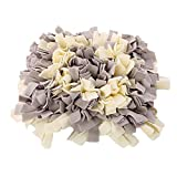 Andiker Dog Snuffle mat, nosework Feeding Training mat, Snuffle pad for Dogs,Stimulate Dog Mental and Physical Health,Machine Washable (Gray &White)