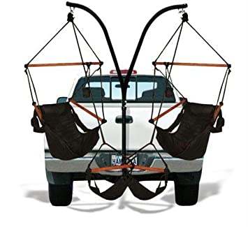 Lovely Trailer Hitch Stand And 2 Black Hammaka Chairs Combo   WD