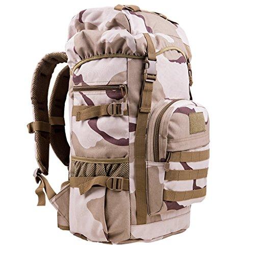 AMOS Bolso al aire libre del alpinismo bolso 50L hombres y bolso de hombro de las mujeres bolso del recorrido de la capacidad grande del recorrido paquete de los deportes bolso del ordenador del bolso Three sand camouflage