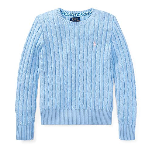 Polo Ralph Lauren Girl's Cable Knit Crew-Neck Sweater (Blue/Pink, Small (7))